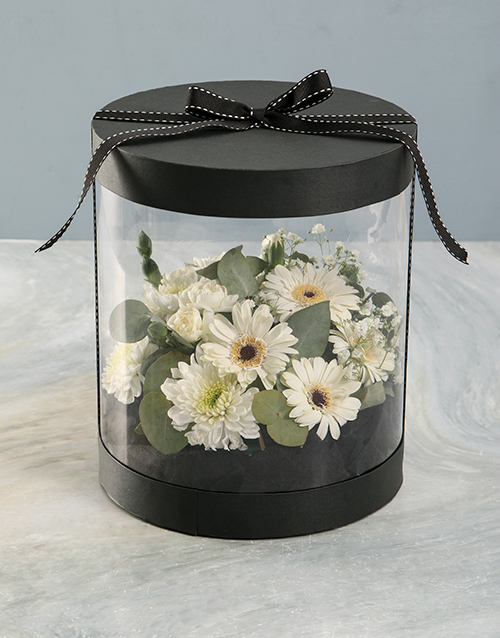 domestic-workers-week: Mixed White Thank You Flowers in Clear Case!