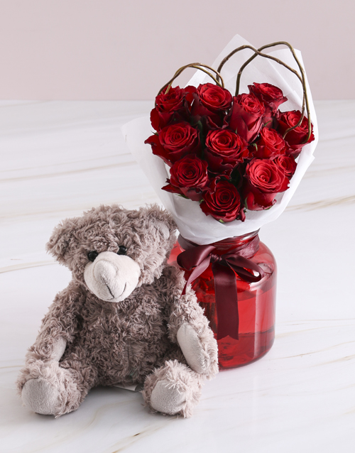 vase: Radiant Red Roses With Brown Teddy Bear!