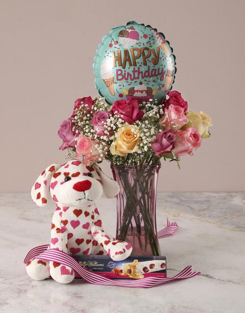 coloured-vases: Puppy Love Happy Birthday Arrangement!