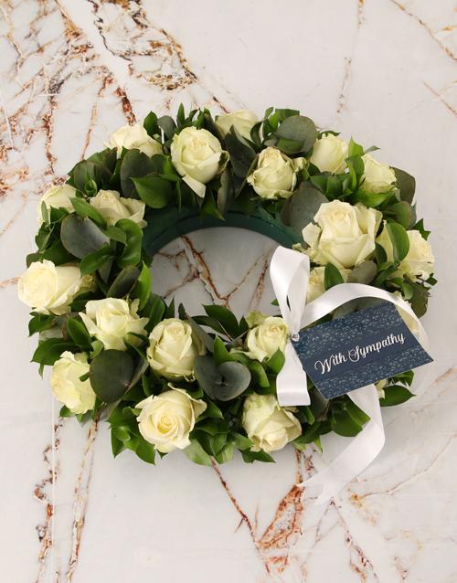 sympathy: White Roses Sympathy Wreath!