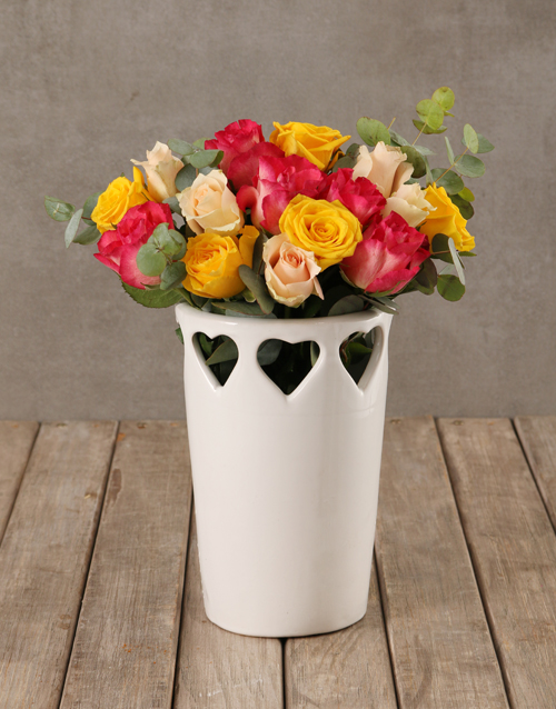 roses: Vibrant Blooms in Cut Out Heart Vase!