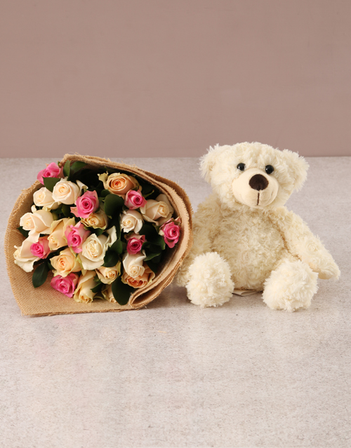 get-well: Delicate Pastel Blooms with Teddy!