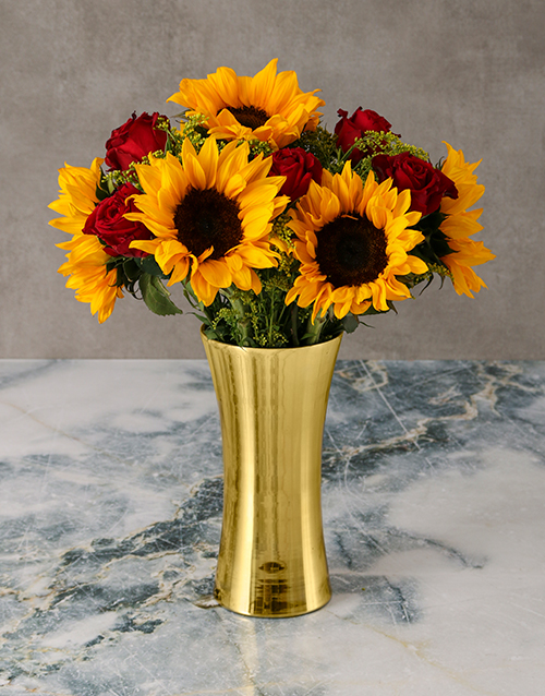 coloured-vases: Glowing Sunflowers and Roses in Golden Vase!