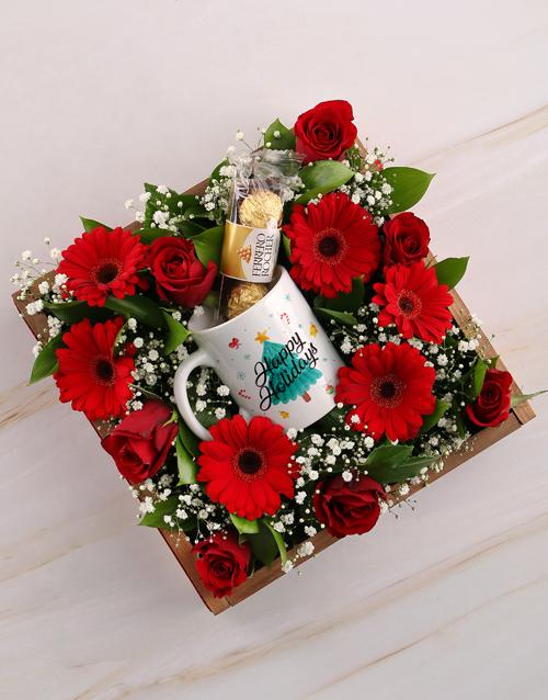 christmas: Happy Holidays Floral Mug Crate!
