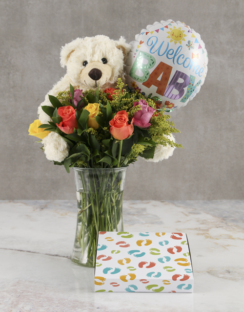 teddy-bears: Mixed Roses and Choc New Baby Gift!