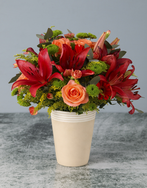 coloured-vases: Orange Skies Mixed Arrangement!
