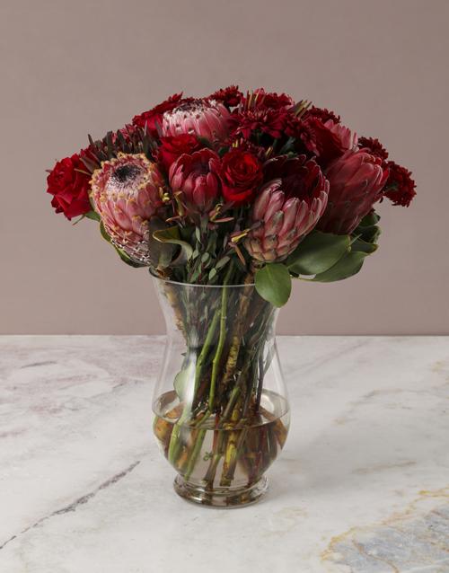 vase: Fiery Skies Protea Arrangement!