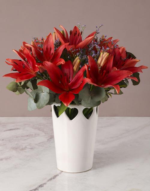 coloured-vases: Flames Of Desire Lily Arrangement!