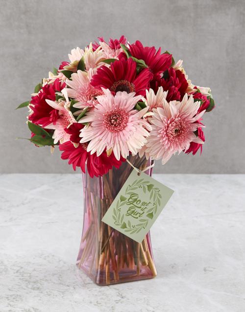 coloured-vases: Pristinely Pink Gerbera Arrangement!