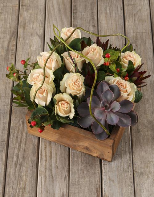 wooden-crates: Peach Rose and Succulent Arrangement!