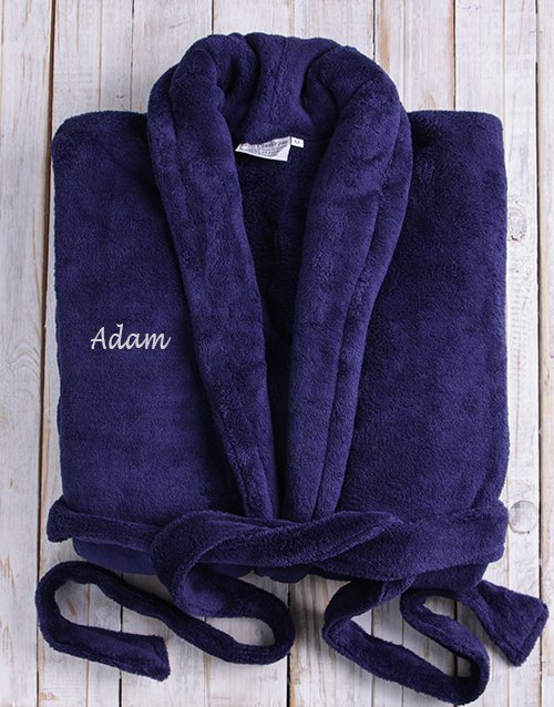bath-and-body: Personalised Dark Blue Fleece Gown!