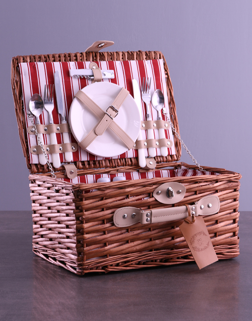fathers-day: Personalised Initials Red Picnic Basket!