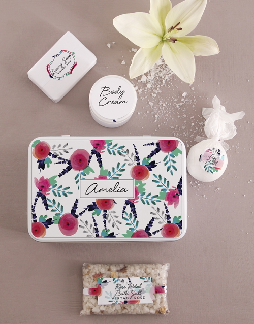 bath-and-body: Personalised Floral Bath and Body Tin!