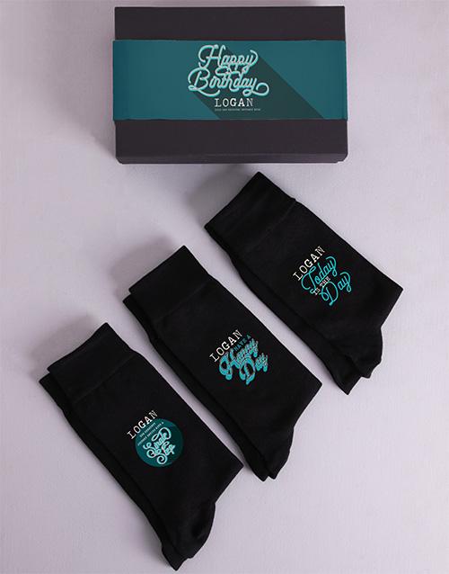 birthday: Personalised 3 Pair Birthday Socks Box!
