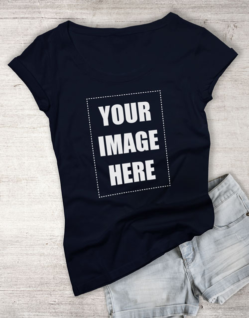 clothing: Personalised Own Image Navy Ladies T Shirt!