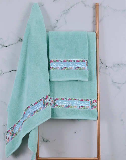 bath-and-body: Personalised Botanical Duck Egg Towel Set !