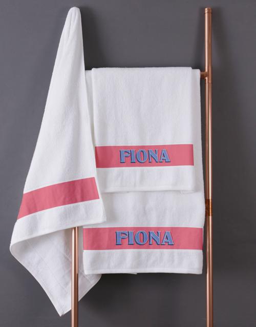 birthday: Personalised Bold Print White Towel Set !