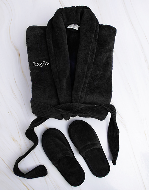 christmas: Personalised Black Fleece Gown and Slipper Set !