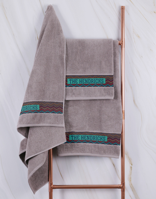 birthday: Personalised Afro Geometric Stone Towel Set!