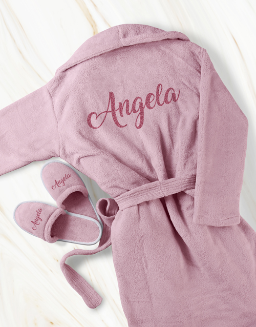 bath-and-body: Personalised Pink Glitter Gown and Slipper Set!