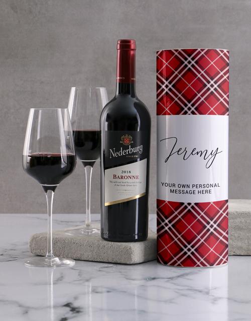 valentines-day: Personalised Classic Tartan Wine Tube!