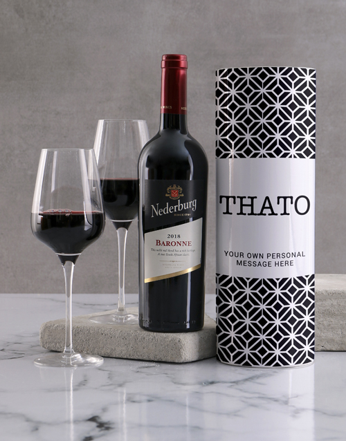 valentines-day: Personalised Modern Black Pattern Wine Tube!