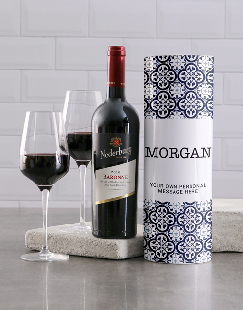 mothers-day: Personalised Blue Azulejo Wine Tube!