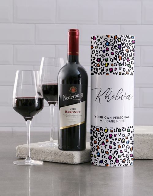 mothers-day: Personalised Colourful Leopard Print Wine Tube!