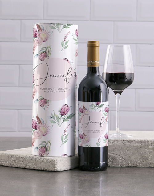 personalised: Personalised Watercolour Protea Wine And Tube Gift!