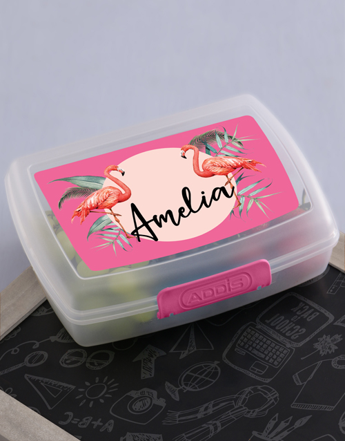 personalised: Personalised Flamingo Lunch Box!