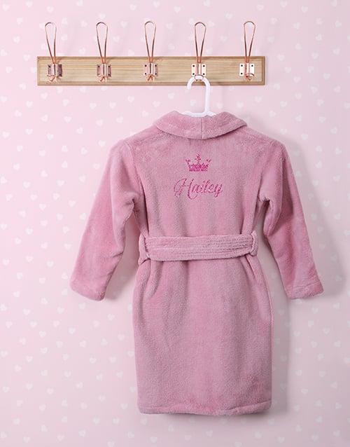 kids: Personalised Glitter Princess Pink Fleece Gown!