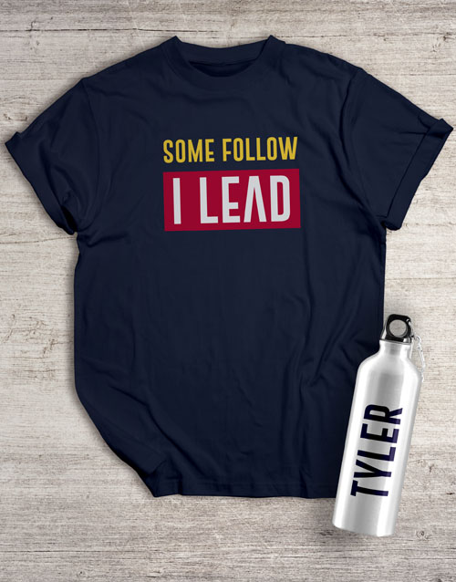 bosses-day: Personalised Leader Waterbottle And T Shirt!