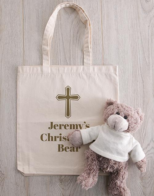 christmas: Personalised Teddy in Holy Cross Drawstring Bag!