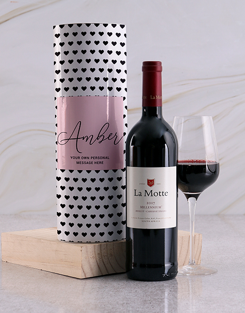 mothers-day: Personalised Black Hearts Wine Tube!
