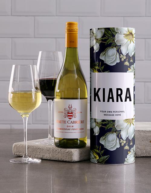 personalised: Personalised Blue Floral Wine Tube!