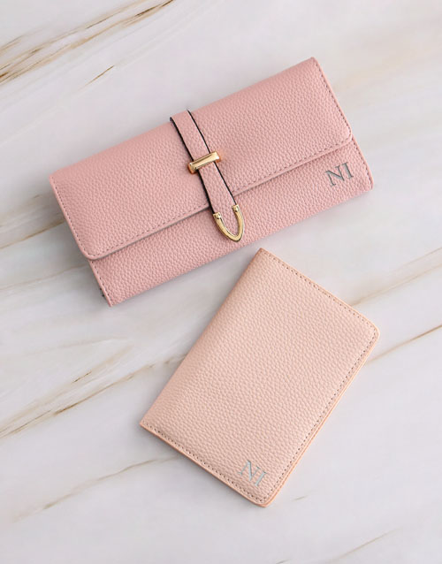 personalised: Personalised Pink Purse with Passport Holder!