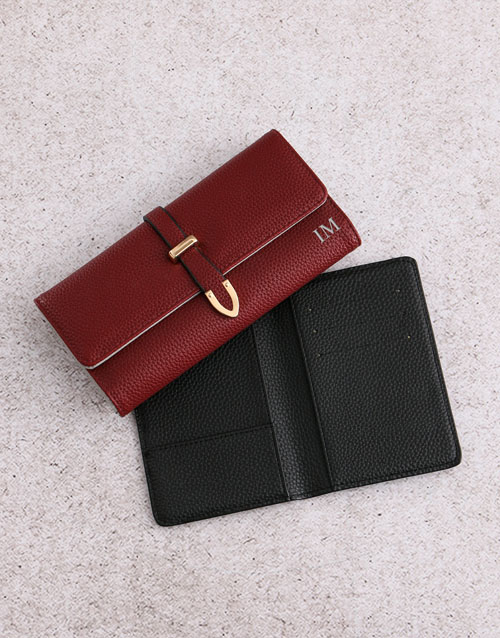 personalised: Personalised Burgundy Purse with Passport Holder!