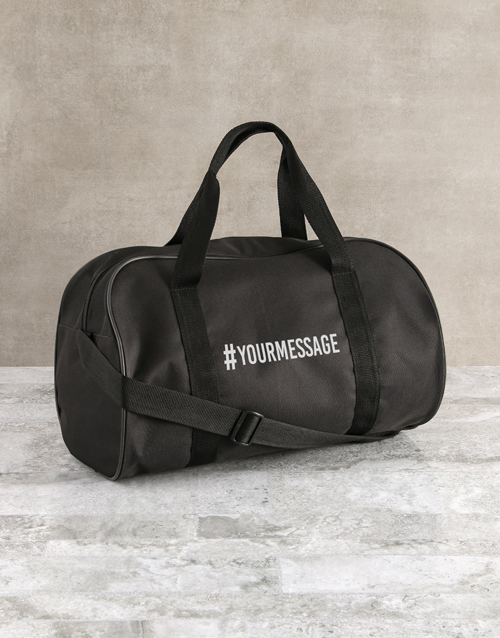 personalised: Personalised Hashtag Black Gym Bag!