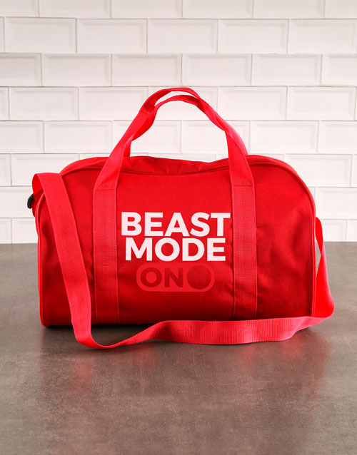 fathers-day: Personalised Beast Mode Navy Gym Bag!