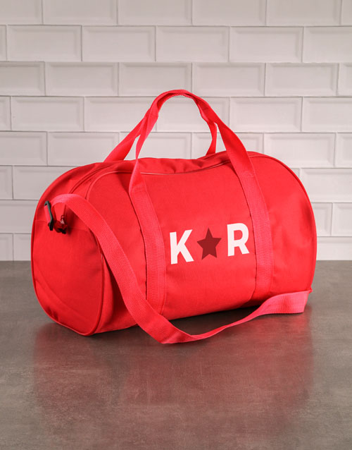 bosses-day: Personalised Star Initials Red Gym Bag!
