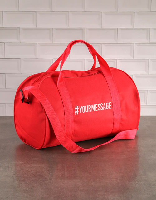 bosses-day: Personalised Hashtag Red Gym Bag!