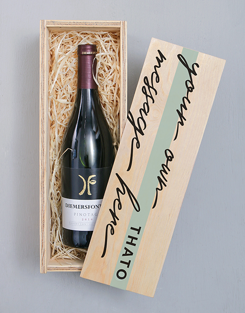 fathers-day: Personalised Diemersfontein Wooden Crate!