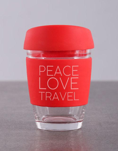 personalised: Personalised Peace Love Travel Kooshty Mug!