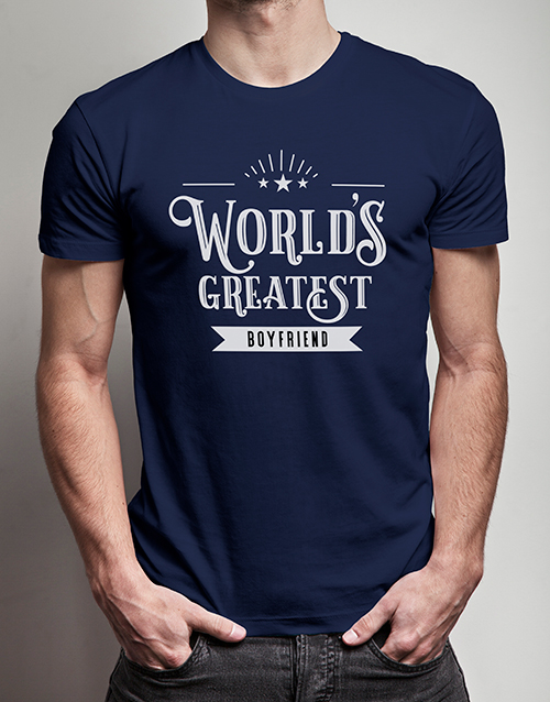 valentines-day: Personalised Worlds Greatest Boyfriend Navy Tshirt!