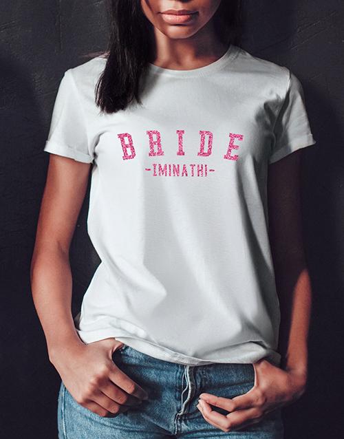 clothing: Personalised Glitter Bride White Tshirt!