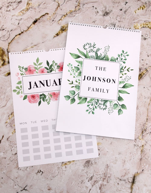 valentines-day: Personalised Botanical Family Wall Calendar!
