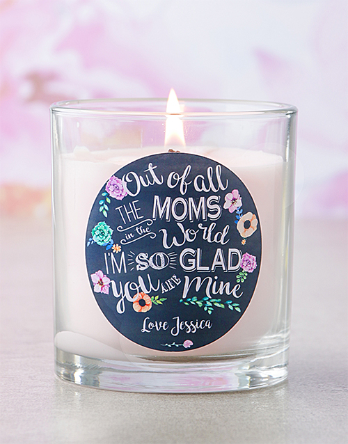 bath-and-body: Personalised Pink Out Of All The Moms Candle!