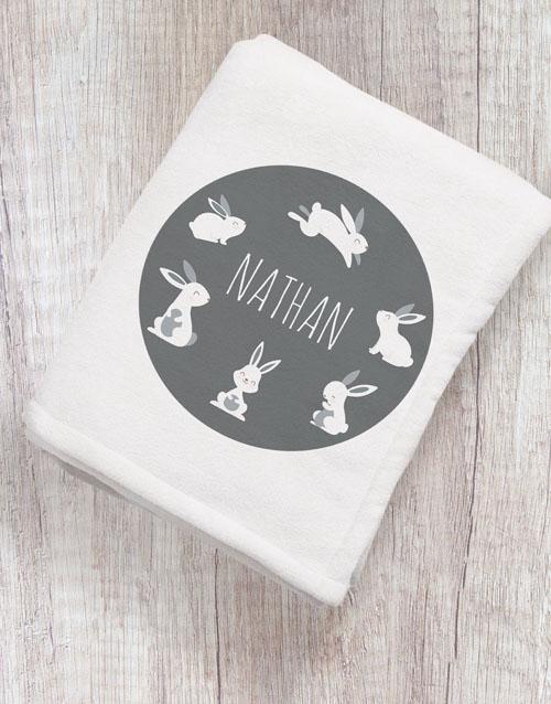 personalised: Personalised Hoppy Bunny Baby Blanket!
