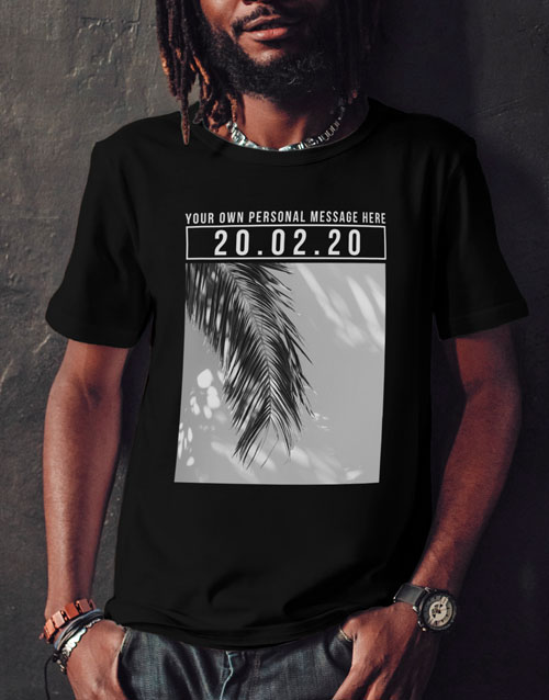 valentines-day: Personalised Black Message Photo Date T Shirt!