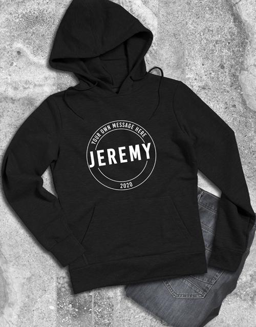 clothing: Personalised Stamp Black Hoodie!